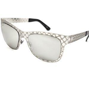 GUCCI Silver Metal GG Logo Mirrored Sunglasses (w)